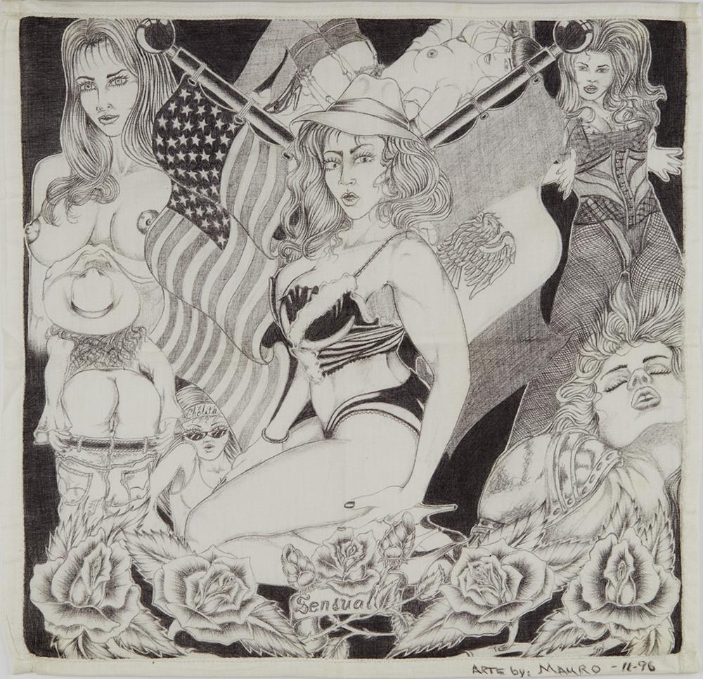 Mauro    Sensual  , 11/1996 Ink on handkerchief 14.75 x 14.75 inches 37.5 x 37.5 cm MAU 1