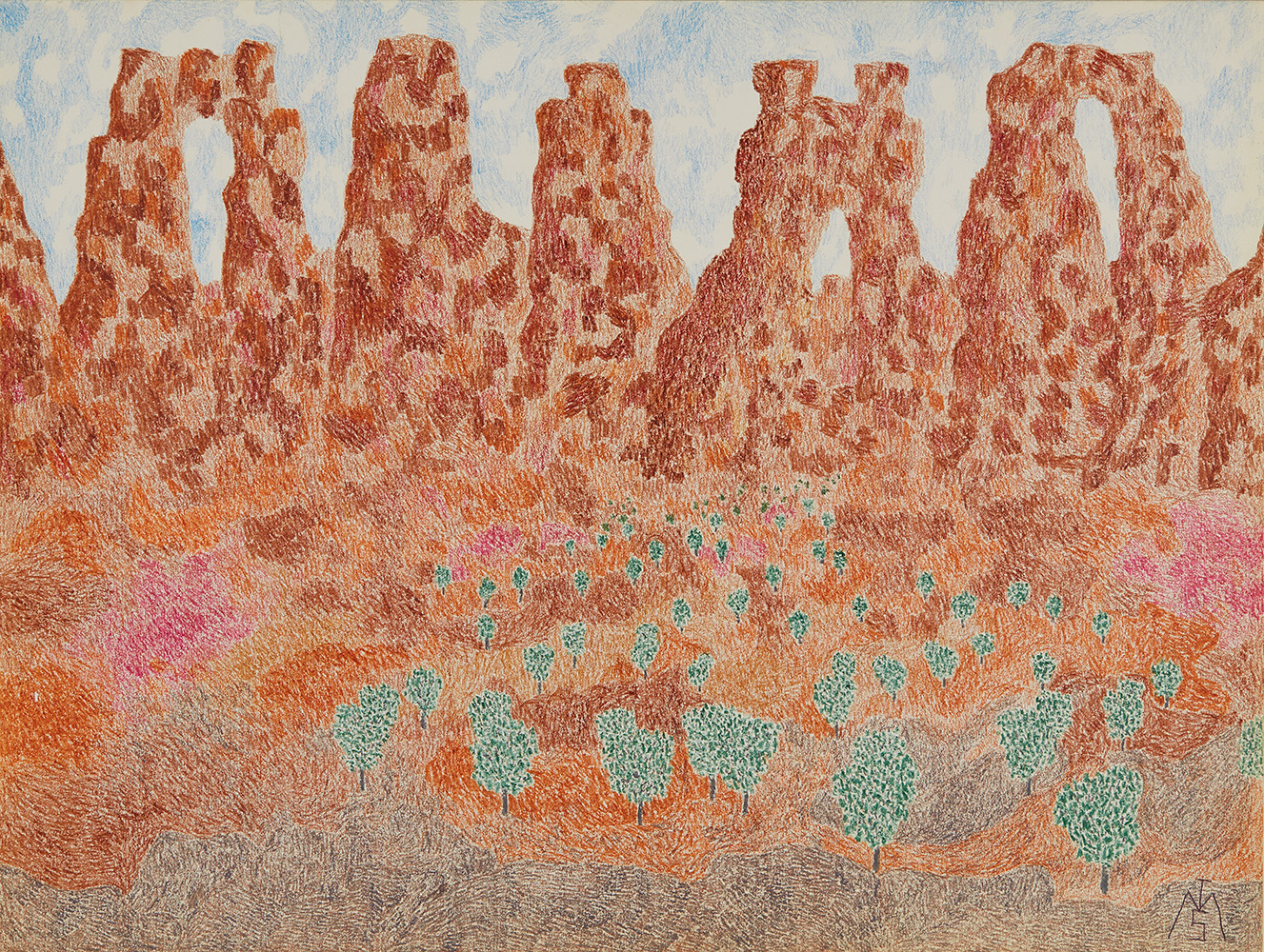Matthew I Smith    Untitled (Landscape)  , 1975 Crayon on paper 18 x 24 inches 45.7 x 61 cm MIS 92