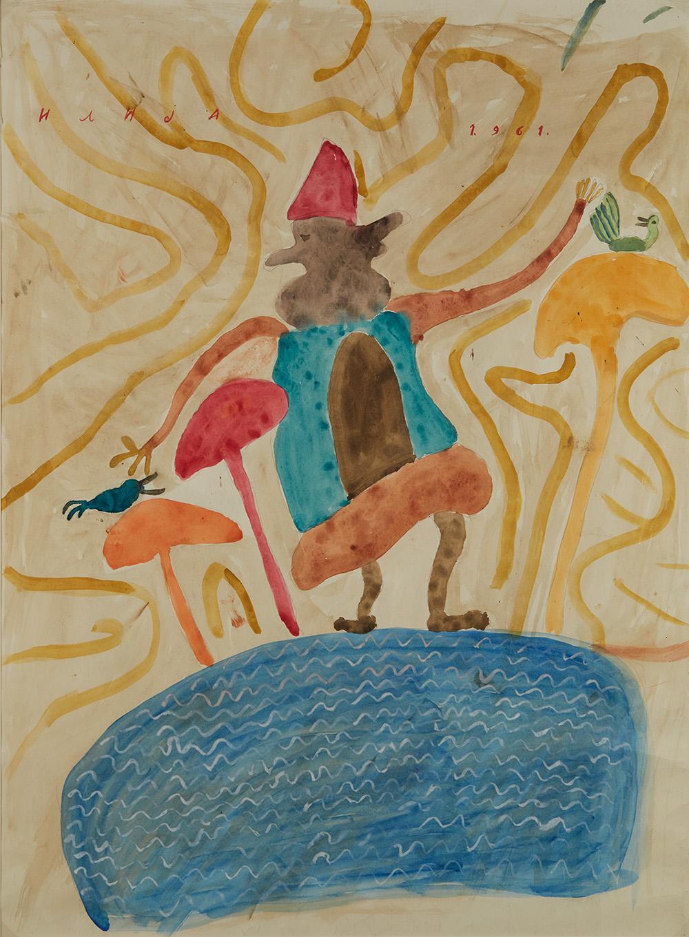 Ilija Bosilj Bašičević    Two Faced Man Walking On Water  , 1961 Gouache on paper 30.75 x 22.5 inches 78.1 x 57.2 cm IBo 3