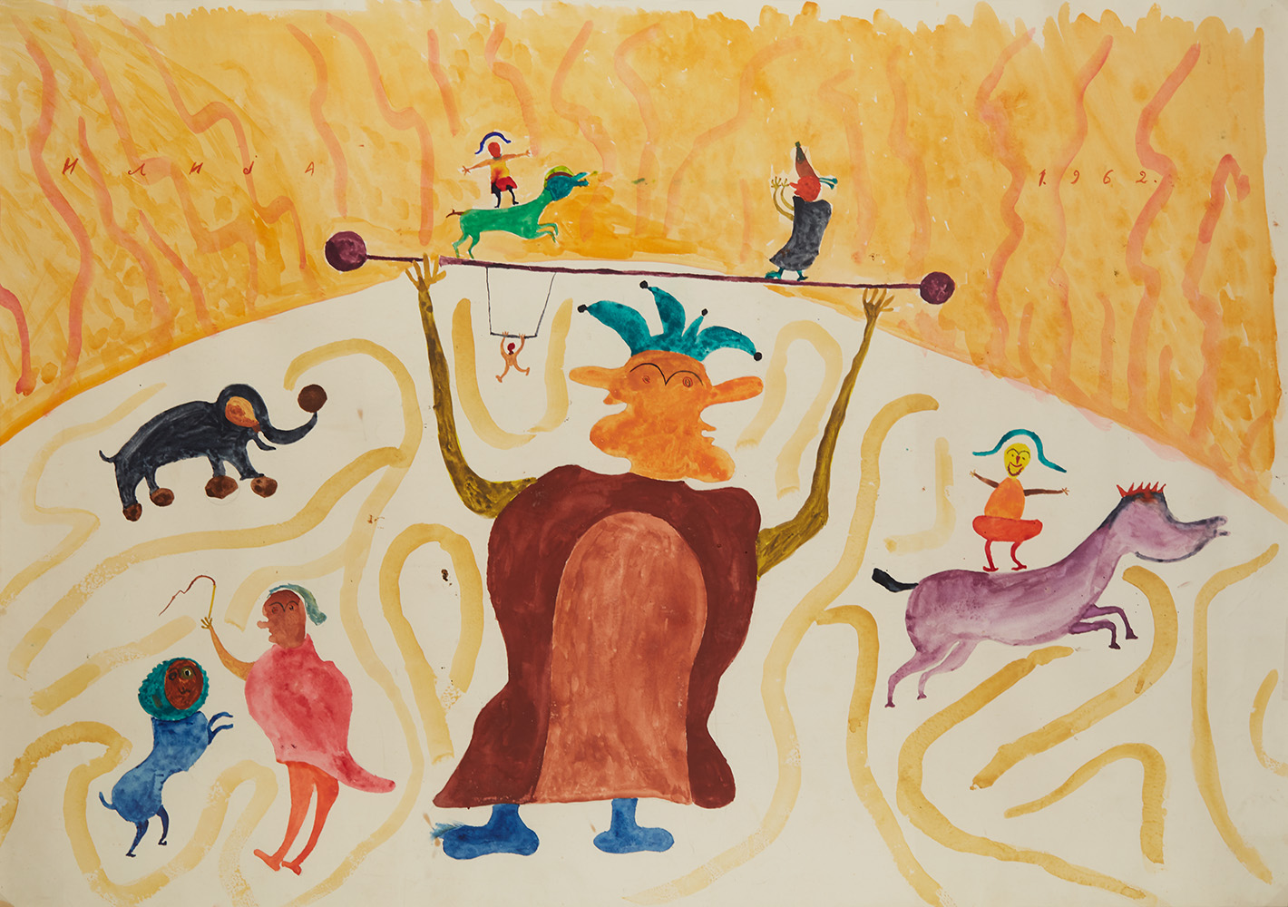 Ilija Bosilj Bašičević    The Fairies' Circus  , 1962 Gouache on paper 29.125 x 42.125 inches 74 x 107 cm IBo 4