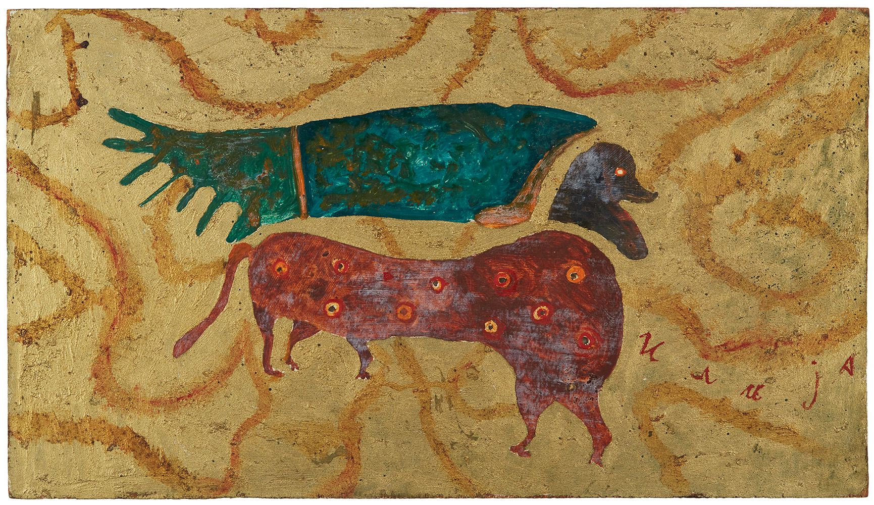 Ilija Bosilj Bašičević    From the Apocalypse: Animal with Human Head  , 1965 Oil on board 9.5 x 16.75 inches 24.1 x 42.5 cm IBo 8