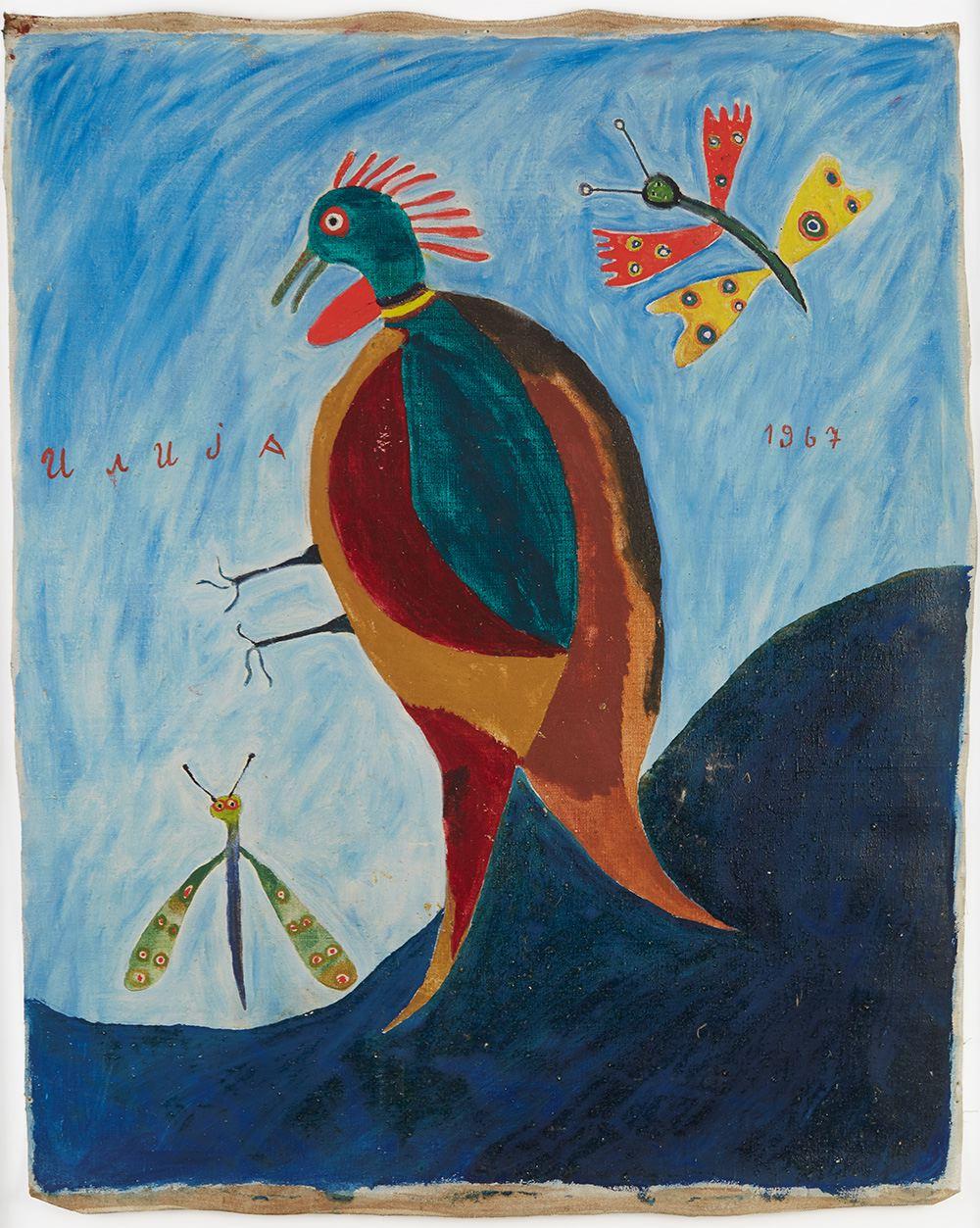 Ilija Bosilj Bašičević    Bird and Two Butterflies  , 1967 Oil on canvas 27 x 21.5 inches 68.6 x 54.6 cm IBo 15