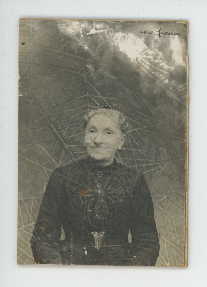 Coco Fronsac  Spiritualist Photo Series  , 1985/2010 Ink, etching on vintage photograph 3.35 x 2.32 inches 8.5 x 5.9 cm CoF 1
