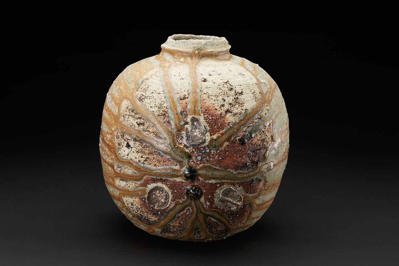 Derek Larsen  Bidoro Jar  , 2011 Ash glazed mountain clay 7.5 x 7.5 x 8 inches 19.1 x 19.1 x 20.3 cm DLa 11