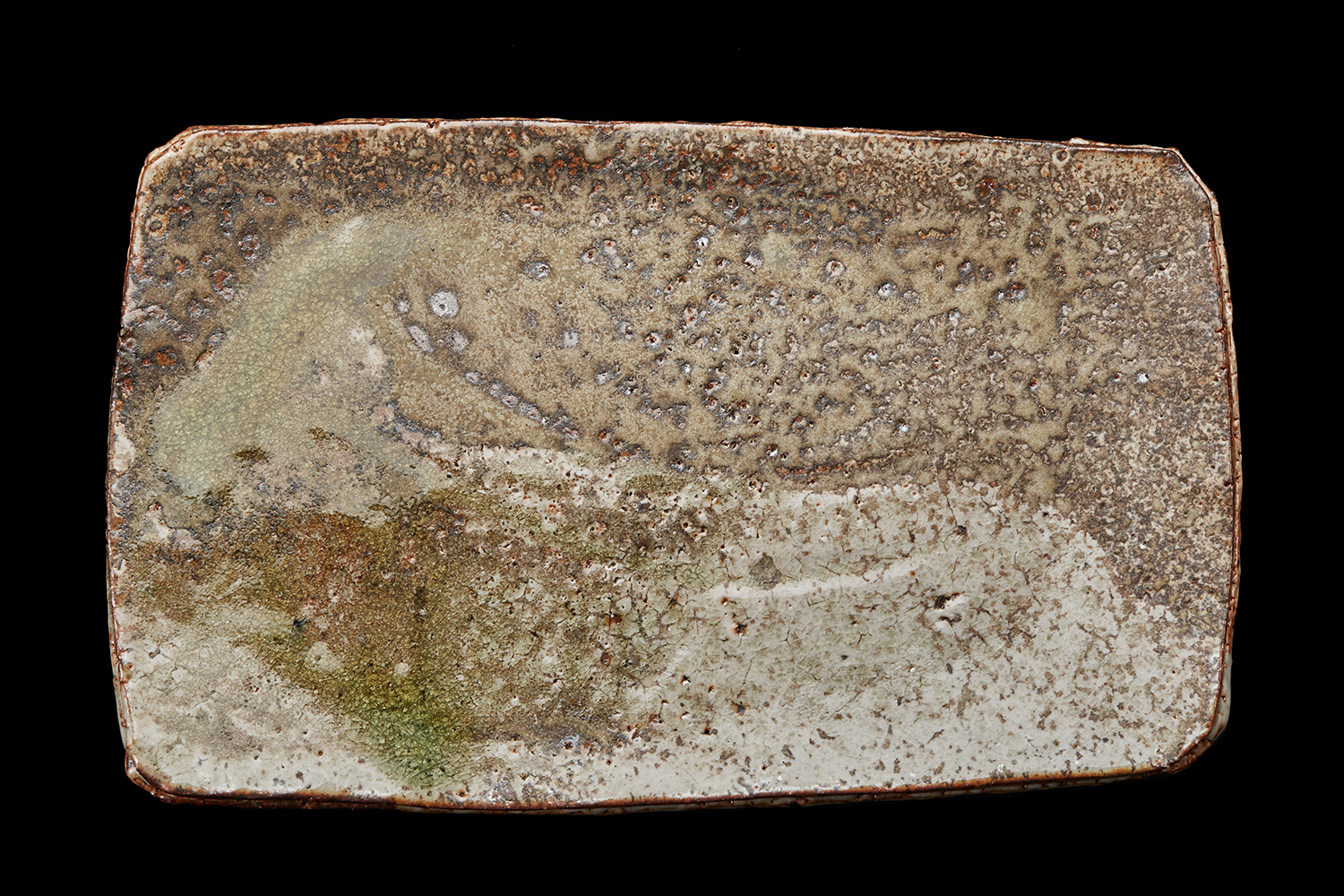 Mike Weber  Large Platter #2   Woodfired ceramics w/ natural ash glaze 14.25 x 9 x 1 inches 36.2 x 22.9 x 2.5 cm MWe 5