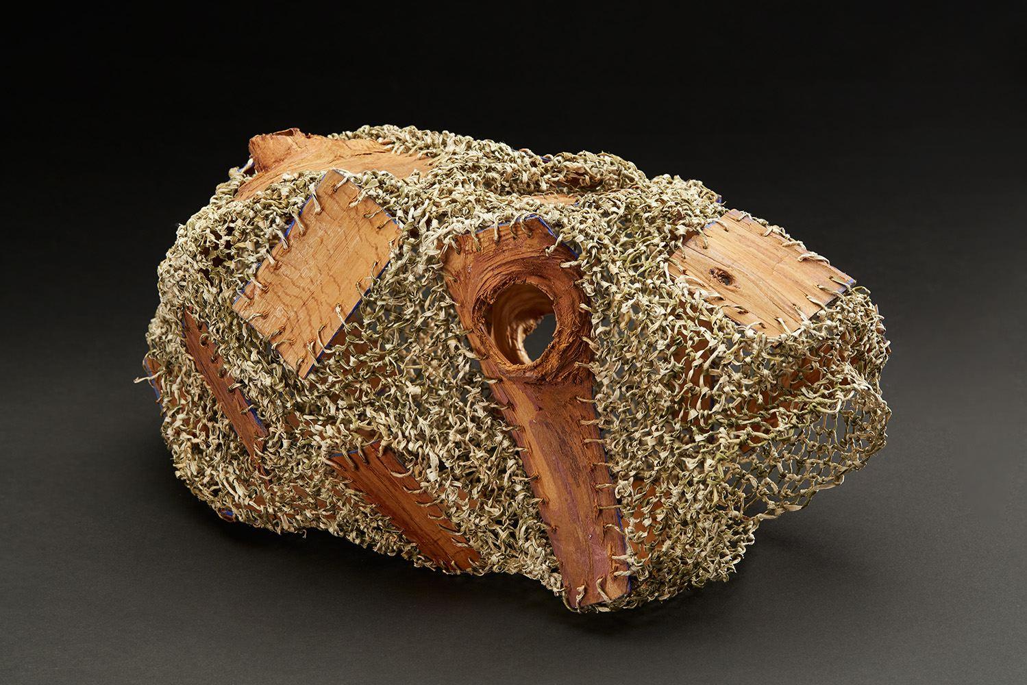 Hiroko Okuno  The Challenge of Materials   , 2018 Knotted kozo and hinoki (Japanese cypress) 6.5 x 6 x 12 inches 16.5 x 15.2 x 30.5 cm HOk 4