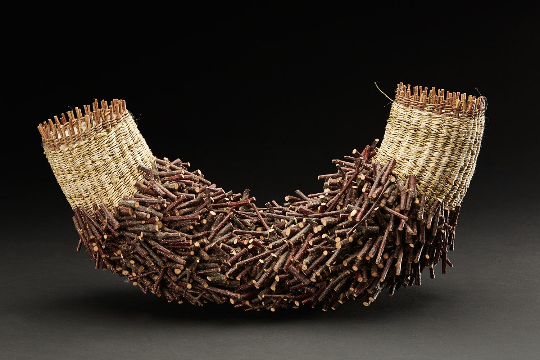 Hiroko Okuno  The Challenge of Materials   , 2015 Twined akebi vine, kozo, shirakaba, wool 7.87 x 5.91 x 15.75 inches 20 x 15 x 40 cm HOk 6
