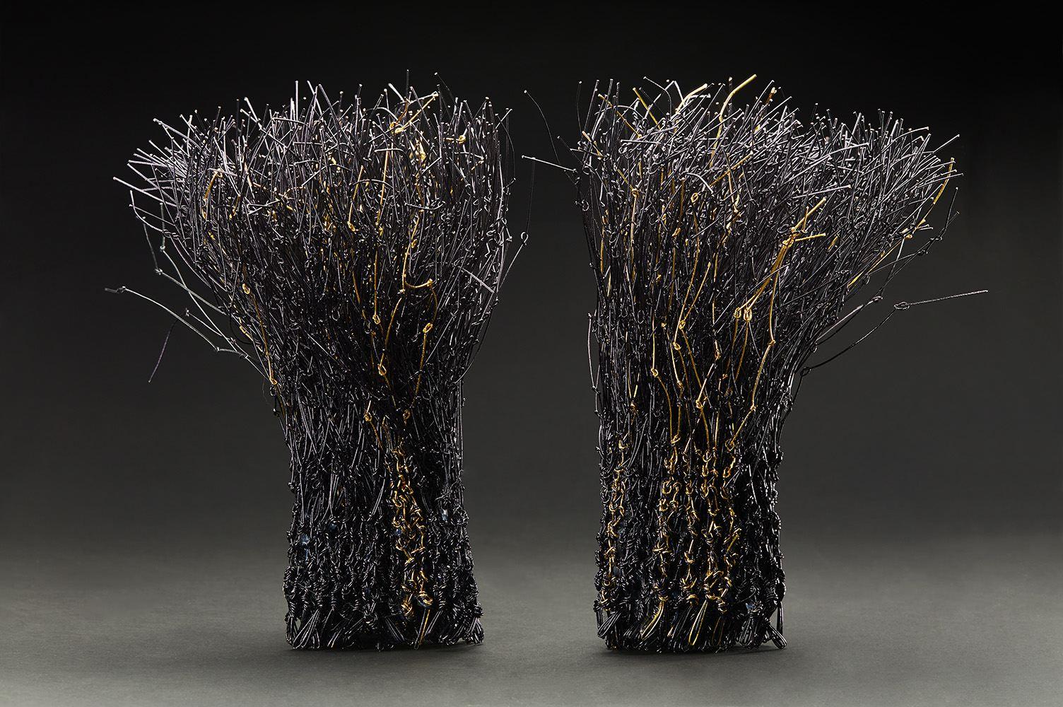 Kakuko Ishii  Musubu  , 2016 Knotted paper strings a. 11 x 6 x 6 inches b. 11 x 6 x 6 inches KIS 2