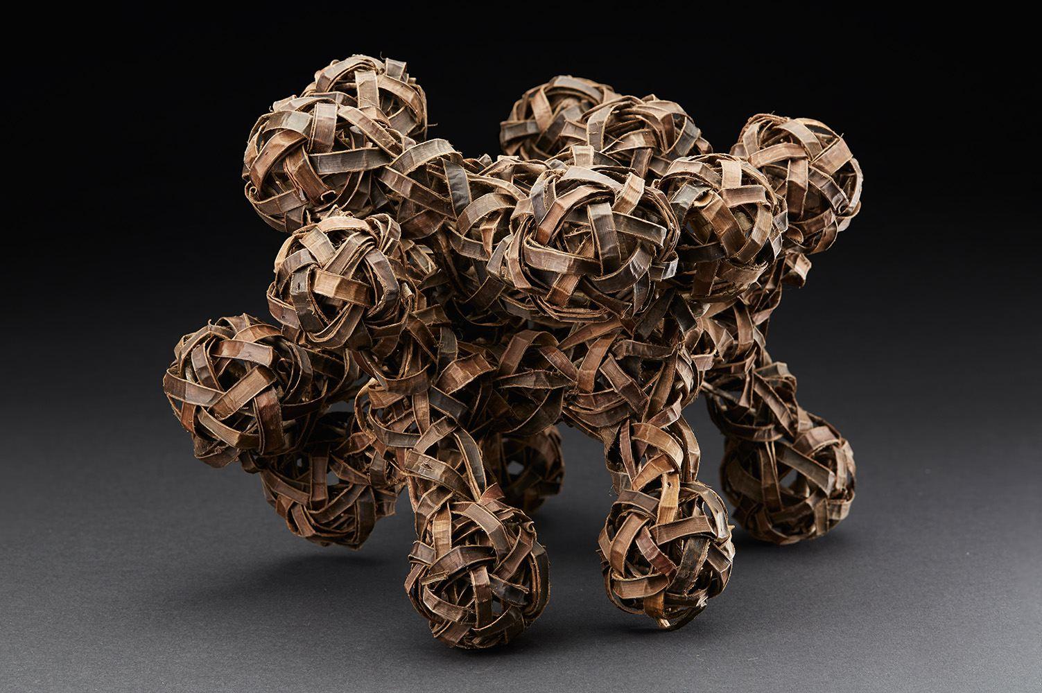 Ritsuko Jinnouchi  Replacement 1  , 2015 Plaited walnut bark 11.81 x 10.24 x 10.24 inches 30 x 26 x 26 cm RJi 8