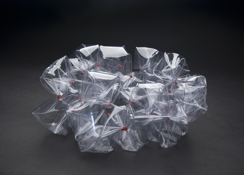 Sachiko Itabashi  Tsubomi, No. VI  , 2010 Crystal vinyl seat, thread fold, knot 7.87 x 7.87 x 7.87 inches 20 x 20 x 20 cm SIt 3