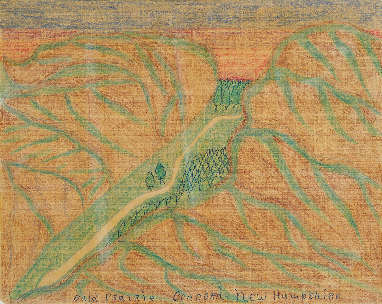 Joseph Yoakum  Bold Prairie, Concord, New Hampshire  , n.d. Colored pencil, graphite on paper 8 x 10 inches 20.3 x 25.4 cm JY 57