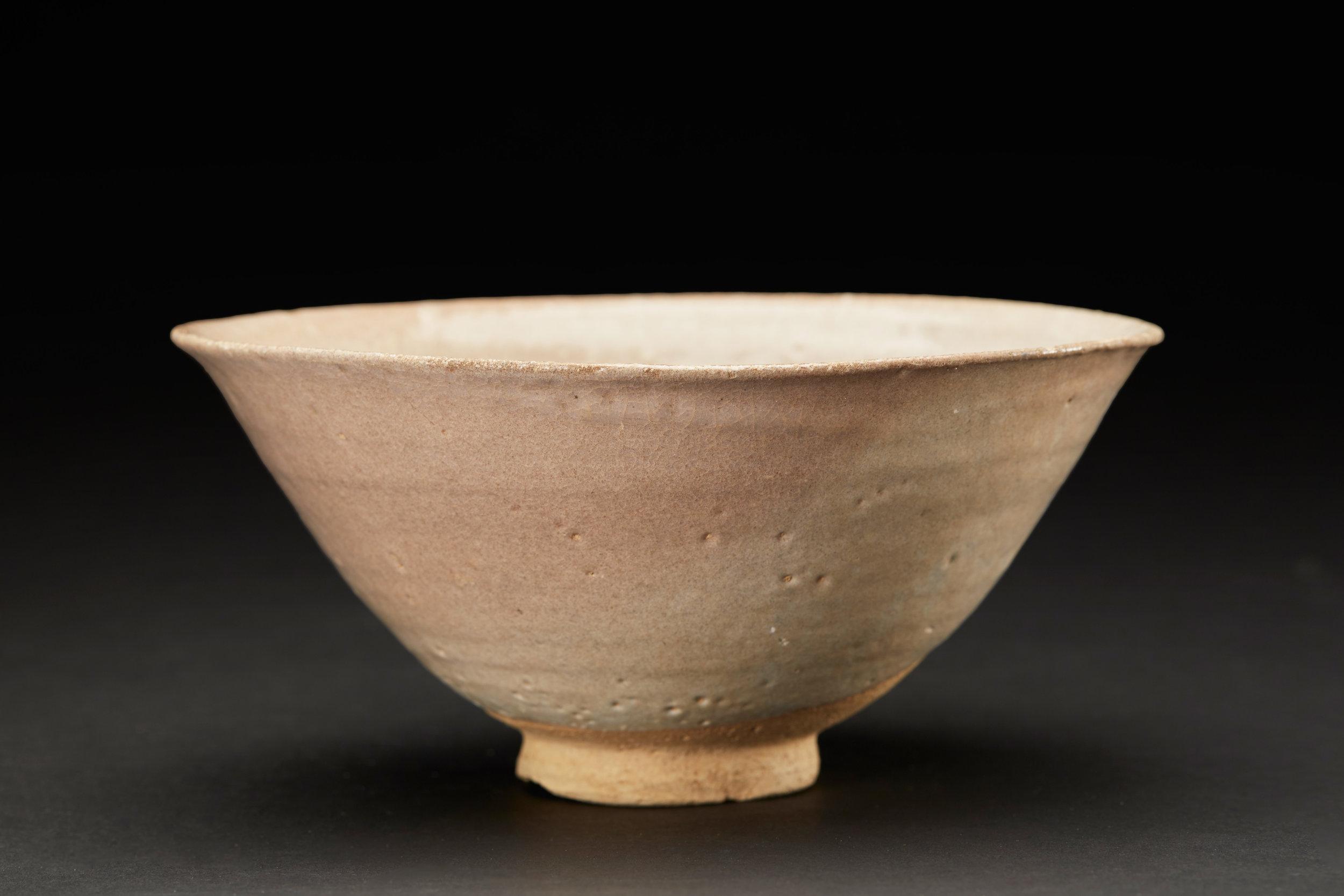 Korean Ceramics  Punchon Rose Colored Tea bowl  , C. Early-Mid Chosun Period (16-17th Century) Porcelain with Celadon Glaze 7 x 3.5 inches 17.8 x 8.9 cm KCer 14