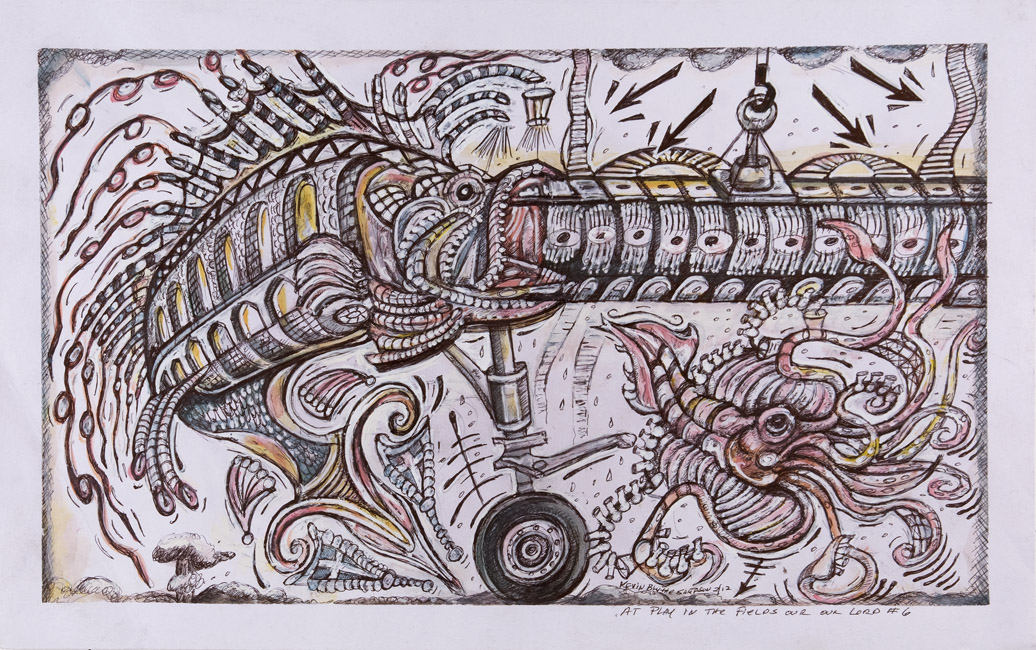 Kevin Sampson  At Play in the Fields of the Lord #61250  , 2012 Ink on paper 13.75 x 22.125 inches 34.9 x 56.2 cm SK 186