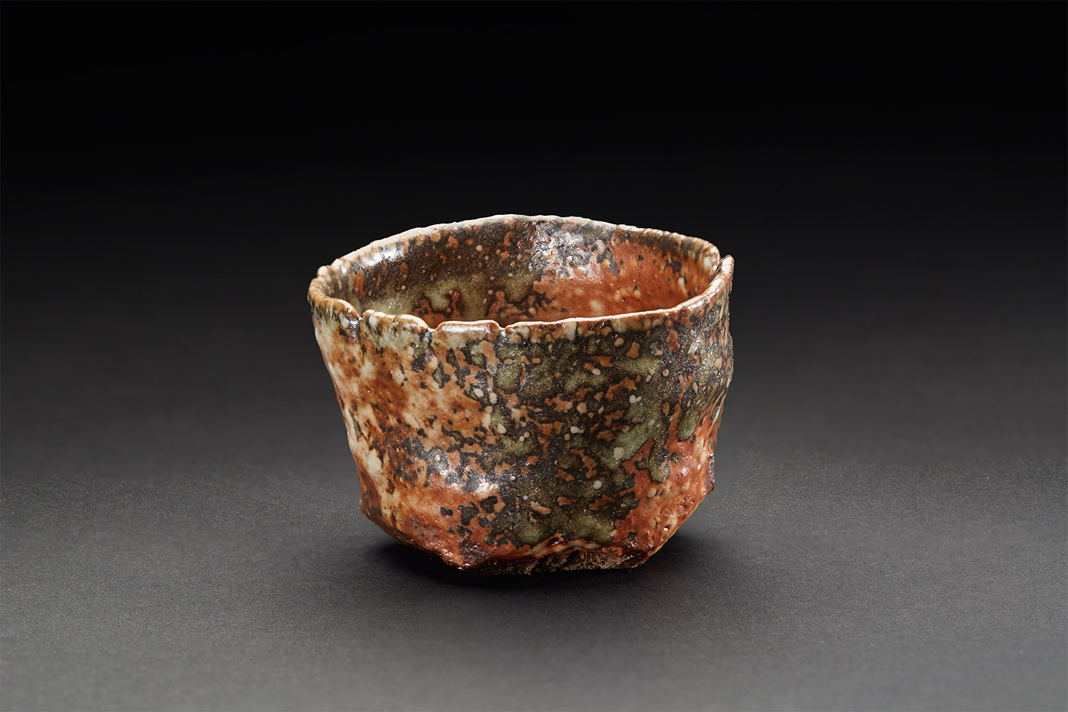 Mike Weber  Guinomi  , 2017 Ceramic, anagama wood-fired for multiple days with shino glaze and natural forming ash glaze 2 x 2.5 x 3 inches 5.1 x 6.4 x 7.6 cm MWe 24