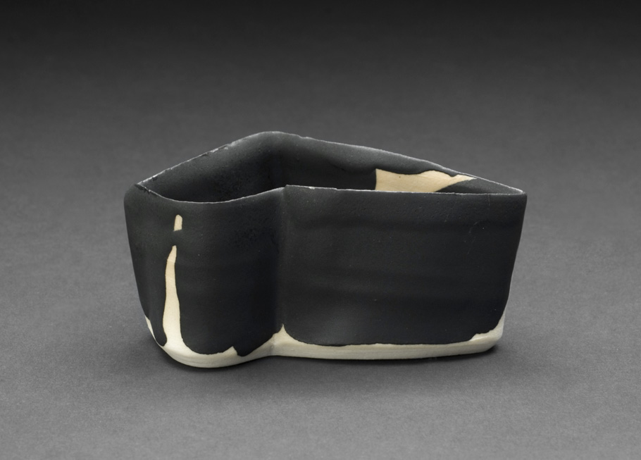 Robert Fornell  Black Angle Guinomi  , 2012 Porcelain 1.75 x 2.75 x 4 inches 4.4 x 7 x 10.2 cm RFo 104