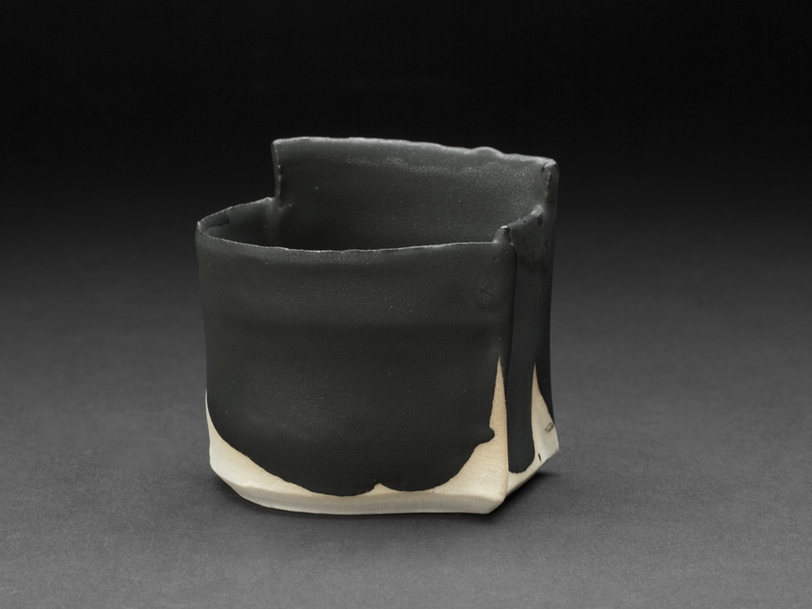 Robert Fornell  Black Angle Guinomi  , 2012 Porcelain 2.5 x 2.5 x 1.875 inches 6.4 x 6.4 x 4.8 cm RFo 109