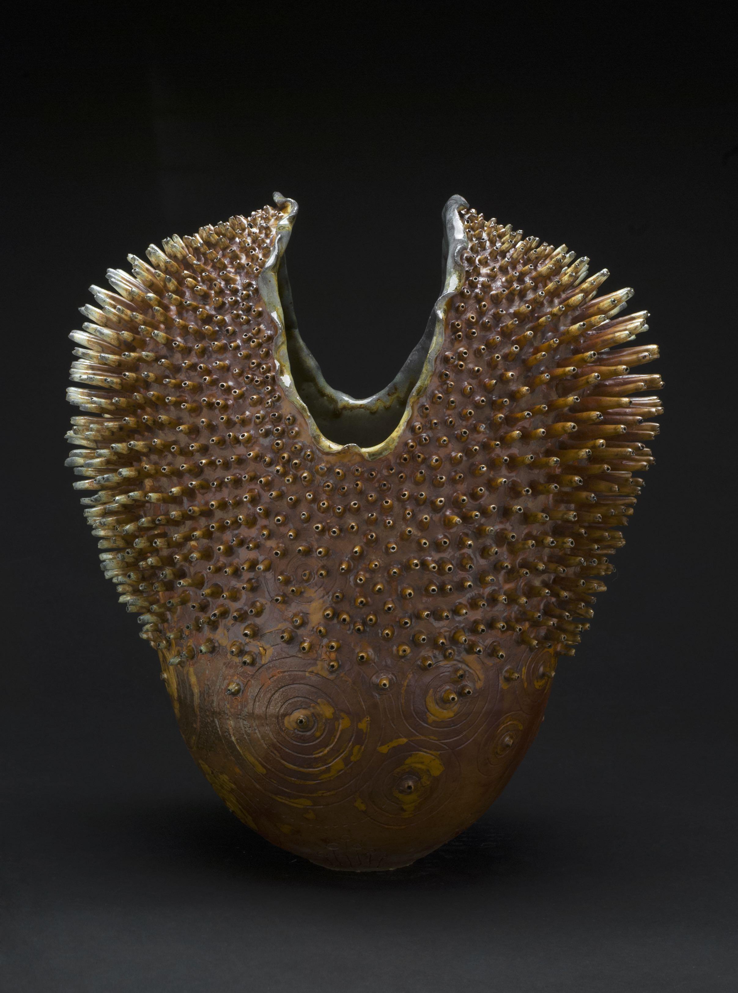 Melanie Ferguson  Urchin 8  , 2013 Handbuilt stoneware, sgraffito, oxide stains, Korean Celedon liner glaze, flashing slips 13.5 x 11 x 7 inches 34.3 x 27.9 x 17.8 cm MFe 7