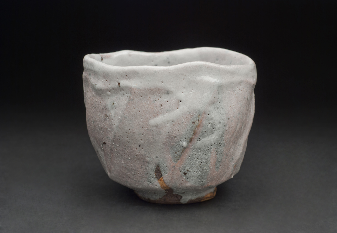 Shozo Michikawa  Tea bowl  , 2010 Stoneware with Shino glaze 4 x 4.5 x 4 inches 10.2 x 11.4 x 10.2 cm SMi 10