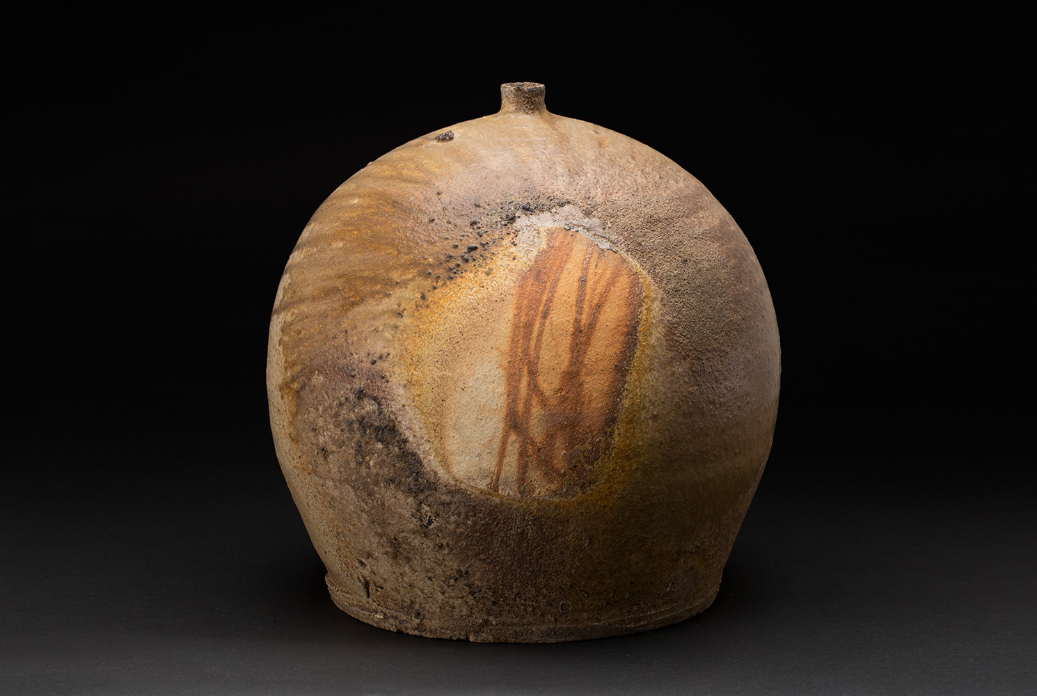 Jeff Shapiro  Large Bizen Tsubo  , 2005 Woodfired Ceramic 13 x 12.5 x 12.5 inches 33 x 31.8 x 31.8 cm JSh 8