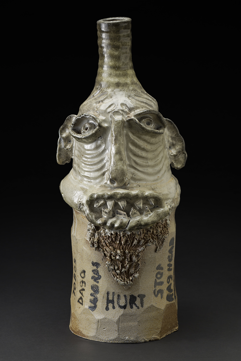 Jim McDowell  A Righteous Judge  , 2011 Gas-fired clay with white shino glaze, words written with black stain prior to firing 20.5 x 8.75 x 8.5 inches 52.1 x 22.2 x 21.6 cm JMcD 6
