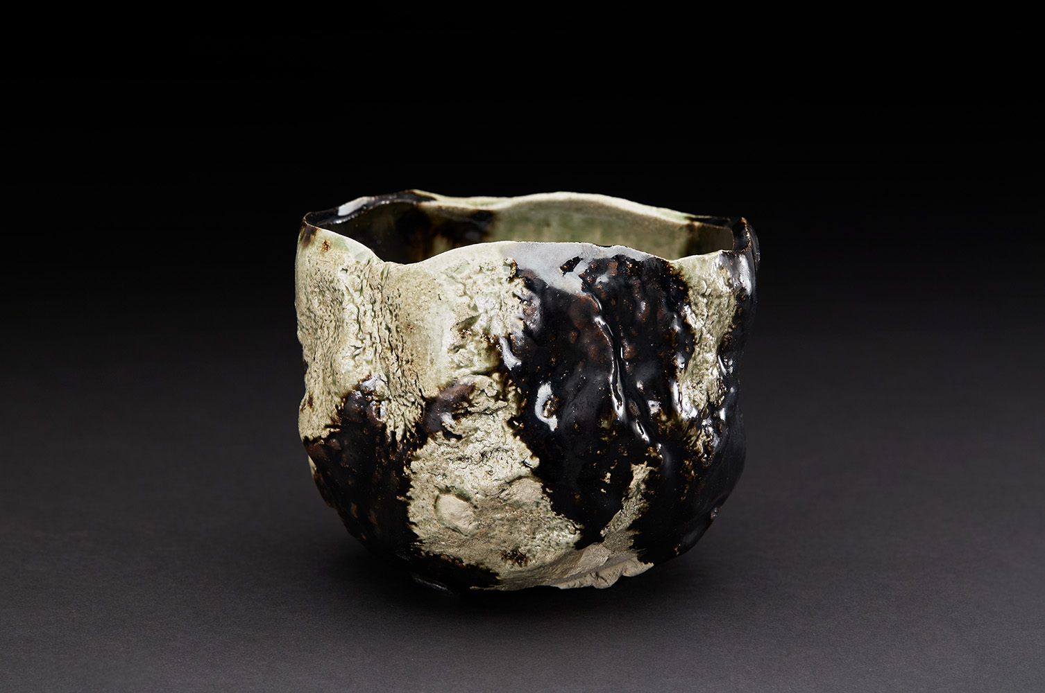 Osamu Inayoshi  Hikidashi Black Karinuki Tea Bowl  , 2018 Ceramic 4.25 x 4.75 x 5.5 inches 10.8 x 12.1 x 14 cm Oin 16
