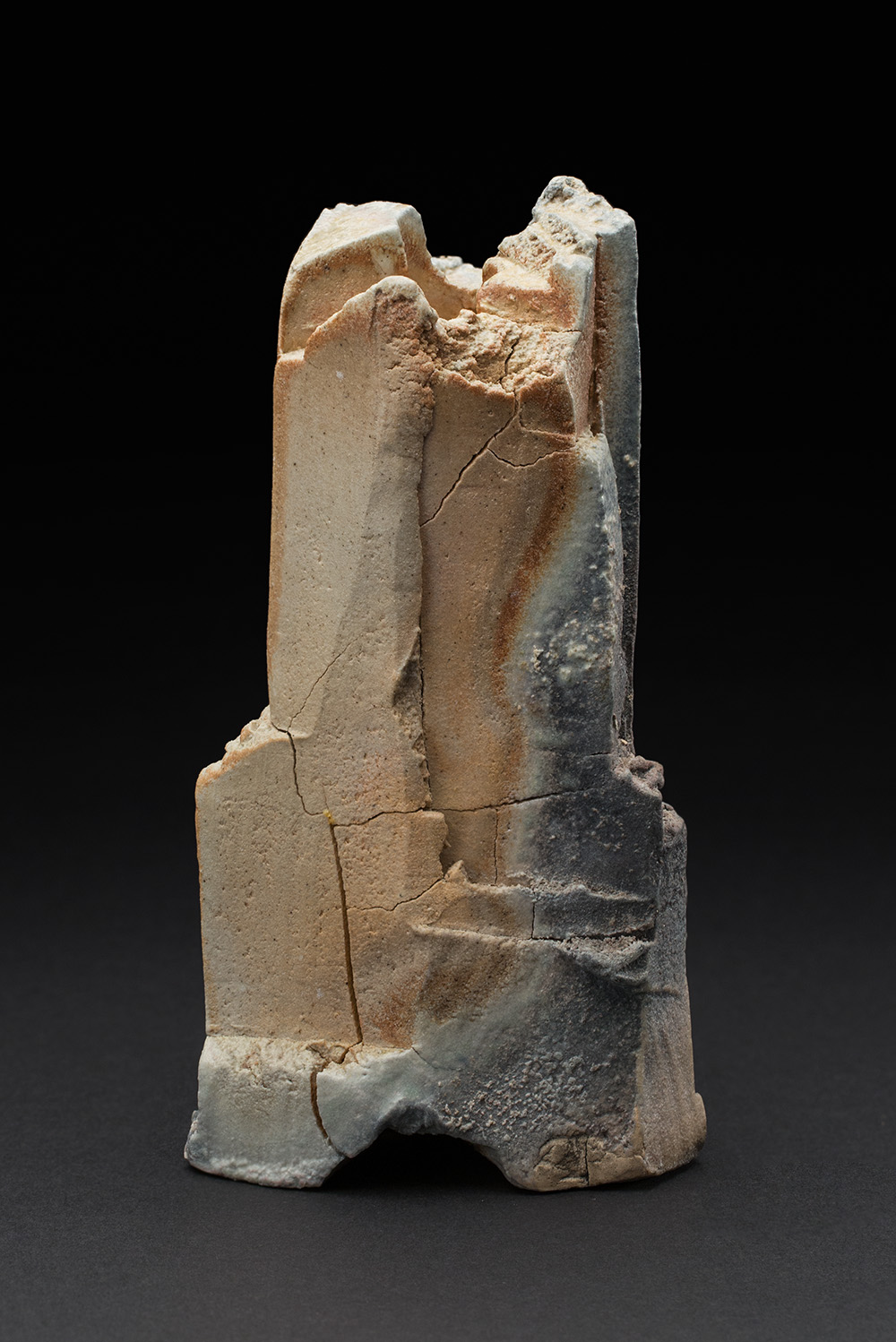 Lucien M. Koonce  Tri-Footed Hanaire  , 2017 Hand formed stoneware clay and natural ash glaze; wood fired (anagama side stoke area) for five days to c/12 8.25 x 4 x 4.5 inches 21 x 10.2 x 11.4 cm LKo 8