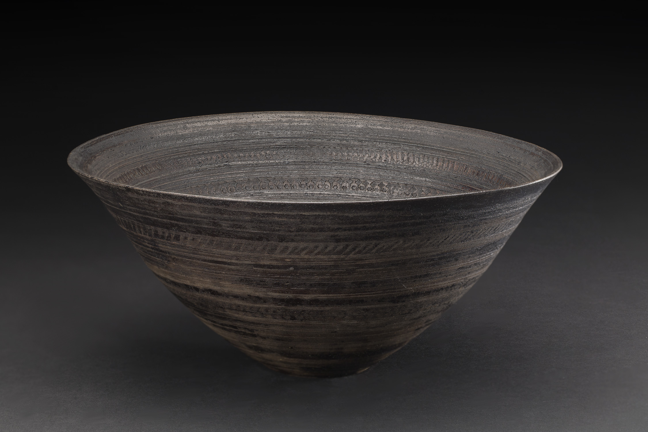 Akihiro Nikaido  Bowl  , 2019 Stamped Ceramic Coated with Lacquer 4.5 x 10 x 10.25 inches 11.4 x 25.4 x 26 cm ANk 62