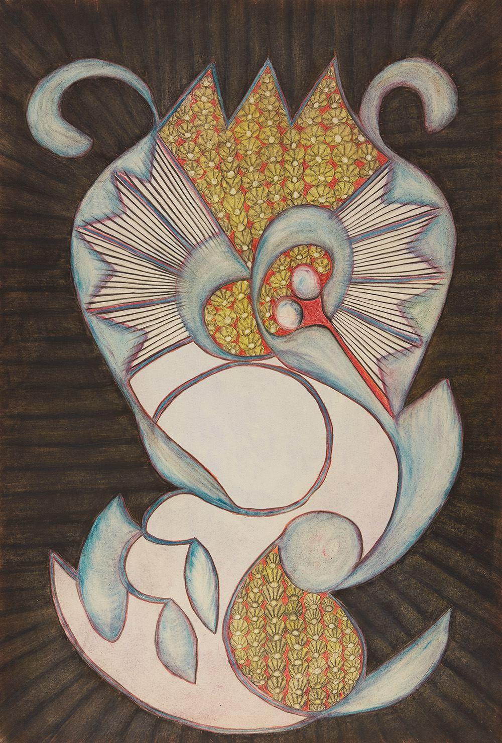 Anna Zemánková  Sláva a Prostota (Glory and Simplicity)  , 1966 Pastel, ballpoint pen on paper 33.07 x 23.23 inches 84 x 59 cm AZe 630