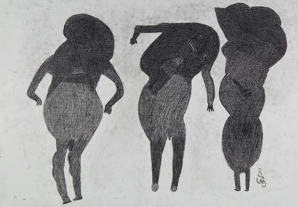 Davood Koochaki  3 Figures (2 male)  , ca. 2015 Graphite on paper 27.56 x 39.37 inches 70 x 100 cm DKoo 2