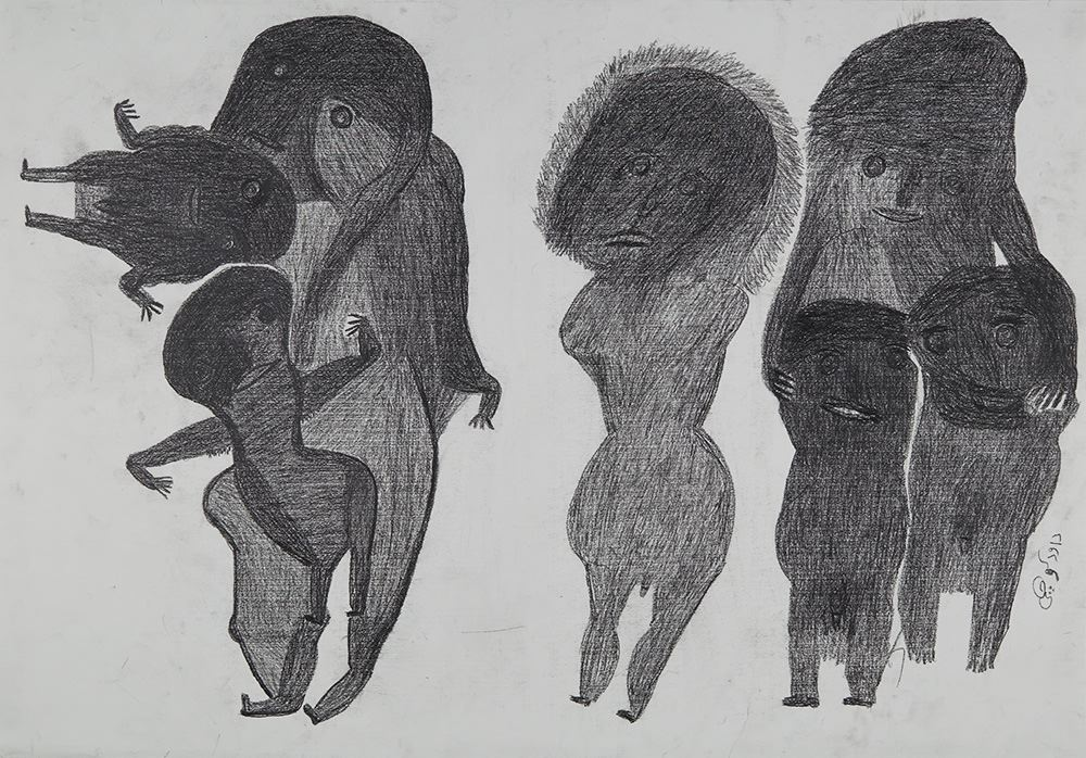 Davood Koochaki  Figures, large and small  , ca. 2015 Graphite on paper 27.56 x 39.37 inches 70 x 100 cm DKoo 3