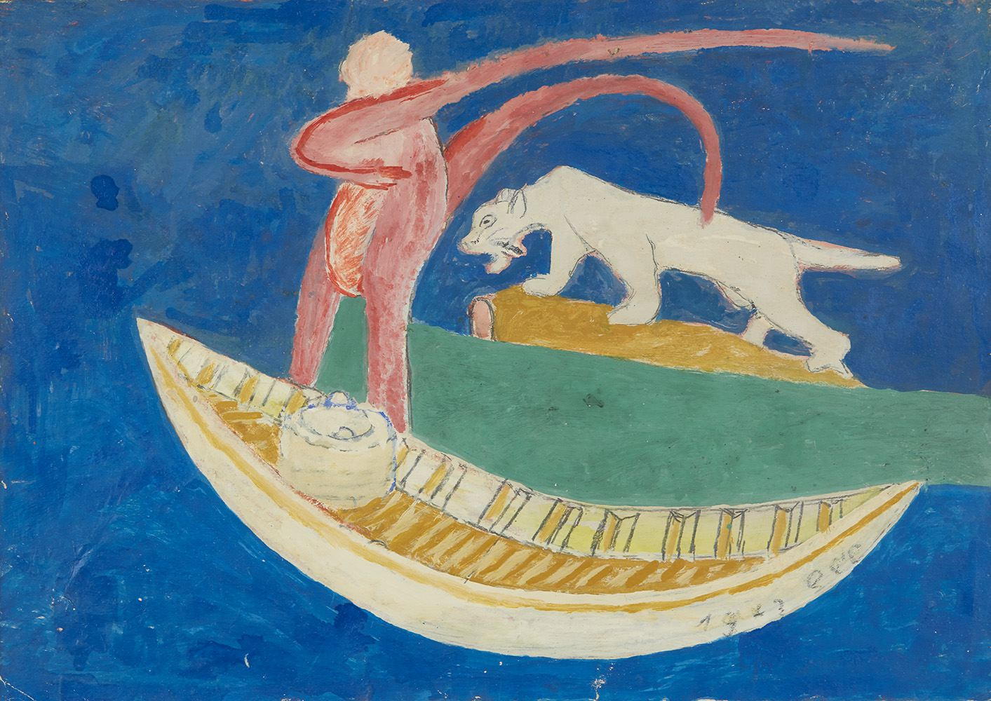 Sava Sekulić  Untitled (Boat with figure and cat)  , 1972 Mixed media on paper 11.75 x 16.5 inches 29.8 x 41.9 cm SvS 3