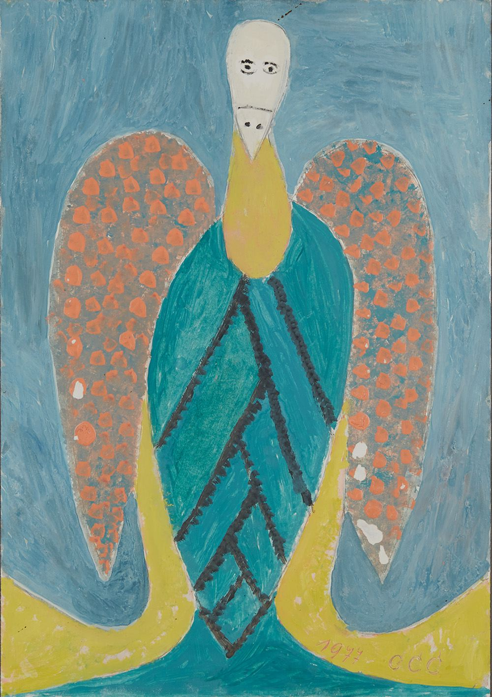 Sava Sekulić  Corncob with Wings  , 1977 Oil, graphite on paper 19.75 x 14 inches 50.2 x 35.6 cm SvS 4