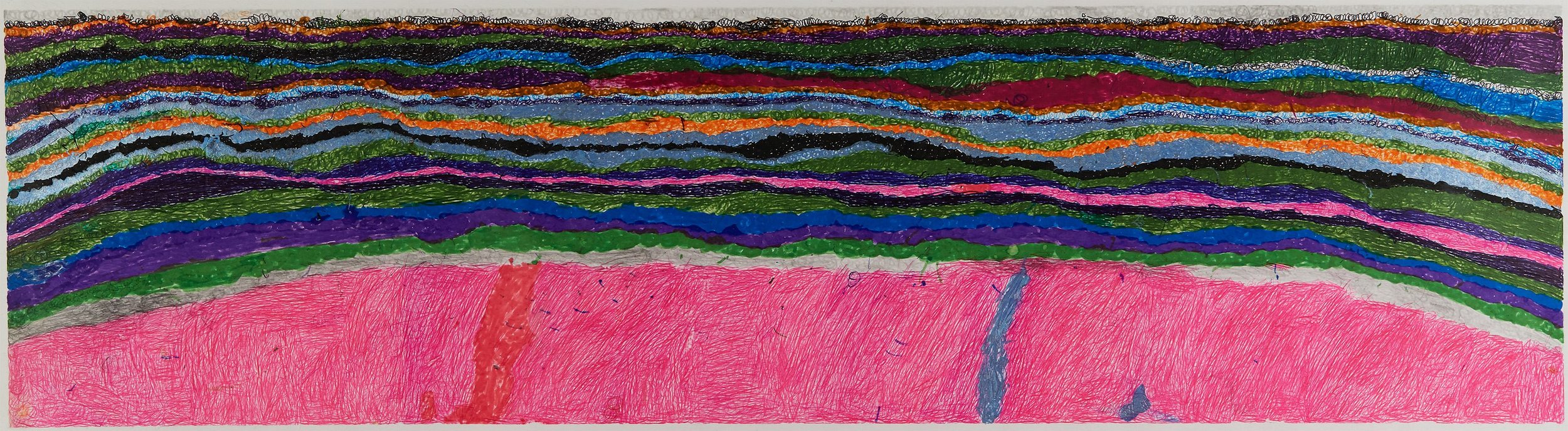 Joseph Lambert  Untitled  , 2017 Ink, marker, pencil, crayon on paper 9.45 x 33.66 inches 24 x 85.5 cm JLam 26