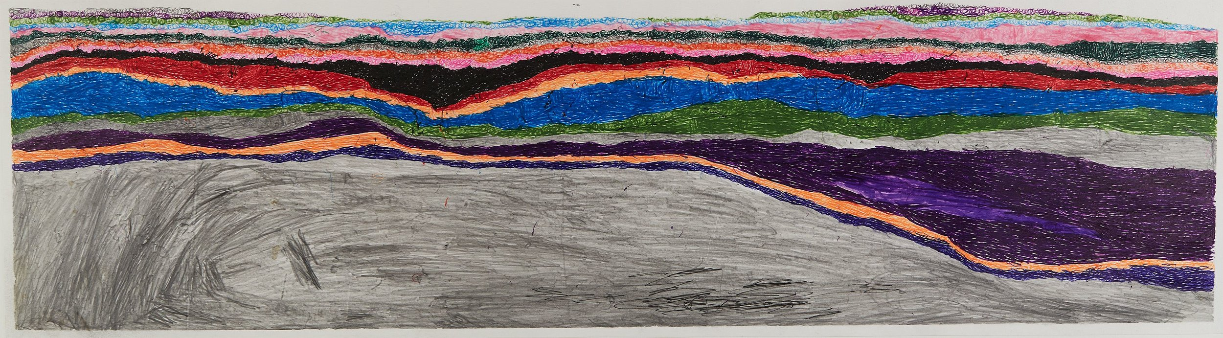 Joseph Lambert  Untitled  , 2017 Ink, marker, pencil, crayon on paper 9.45 x 33.66 inches 24 x 85.5 cm JLam 27