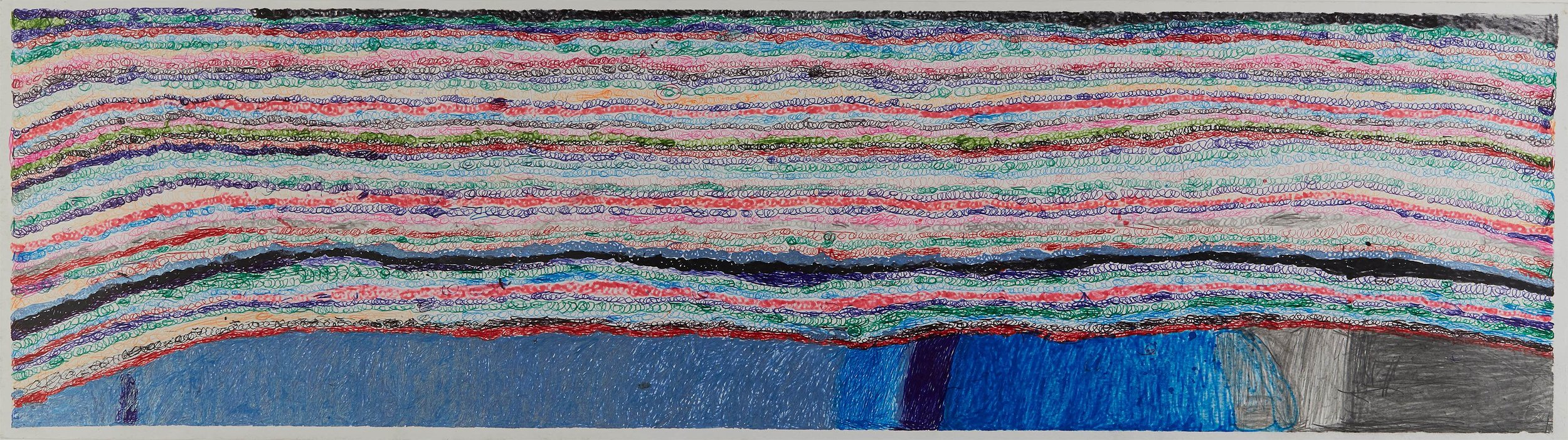 Joseph Lambert  Untitled  , 2017 Ink, marker, pencil, crayon on paper 9.45 x 33.66 inches 24 x 85.5 cm JLam 30