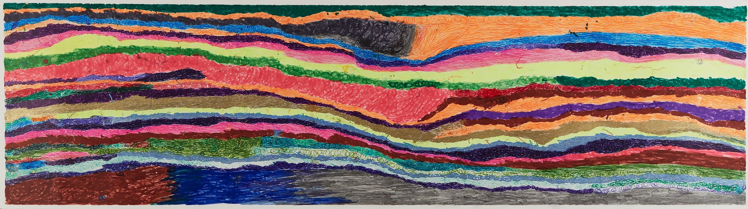 Joseph Lambert  Untitled  , 2017 Ink, marker, pencil, crayon on paper 9.45 x 33.66 inches 24 x 85.5 cm JLam 28