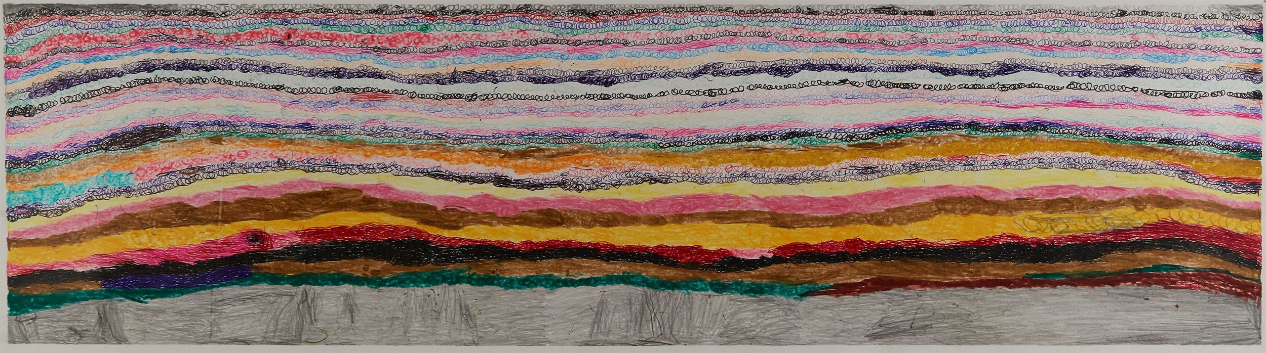 Joseph Lambert  Untitled  , 2017 Ink, marker, pencil, crayon on paper 9.45 x 33.66 inches 24 x 85.5 cm JLam 31