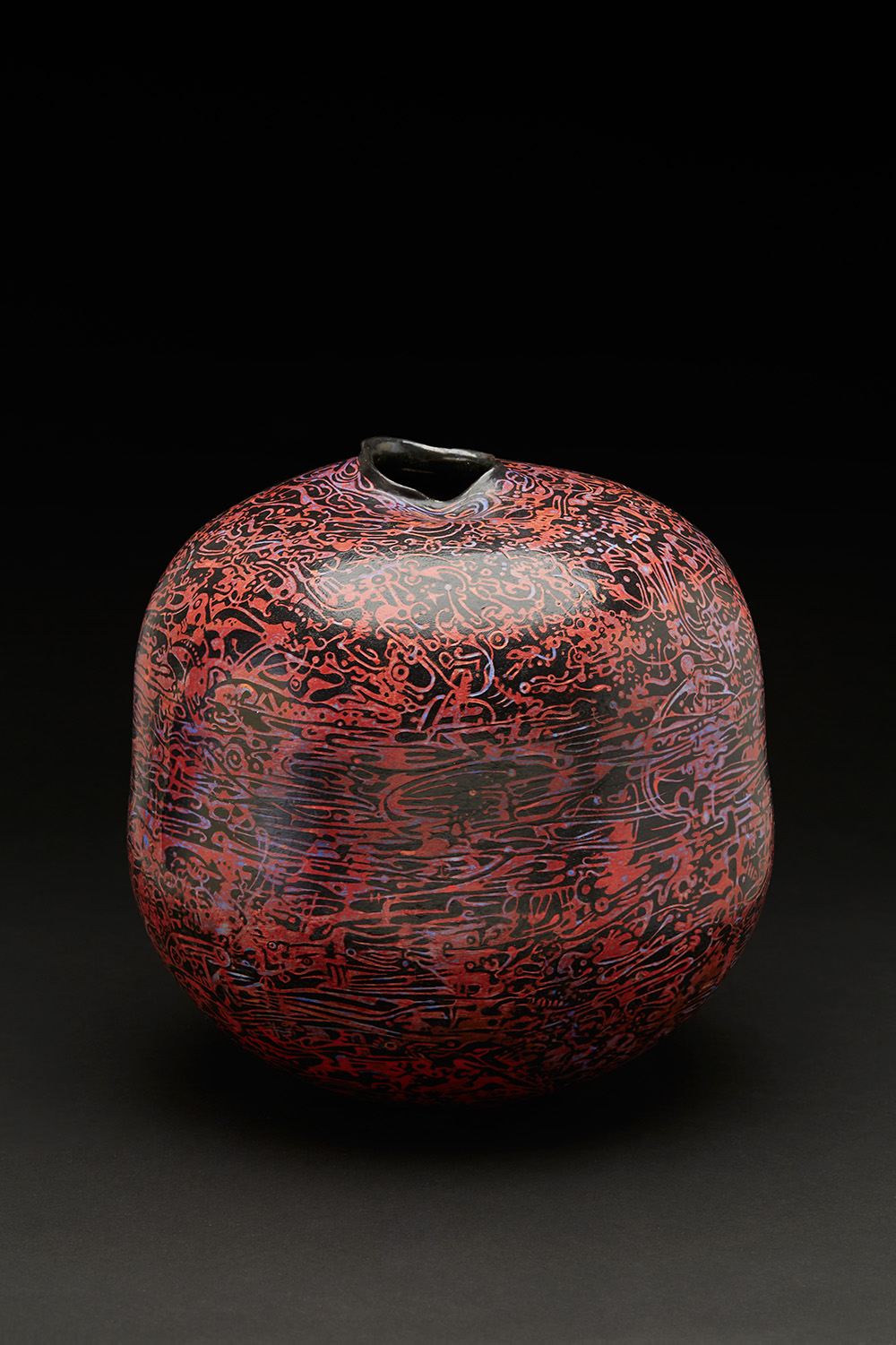 Melanie Ferguson  Crimson Light Floods the Horizon  , 2016 Hand built stoneware, sgraffito, underglaze, manganese inner glaze; hand-rubbed coldwax finish 11 x 11 x 11 inches 27.9 x 27.9 x 27.9 cm MFe 41