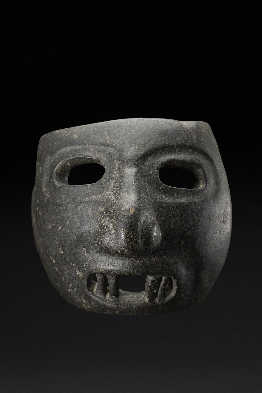Masks  Olmec, Tlaloc mask  , 1200 BCE - 900 BCE Serpentine 7.5 x 8 x 6.5 inches 19.1 x 20.3 x 16.5 cm w/stand: 12 x 8 x 5 inches M 277s