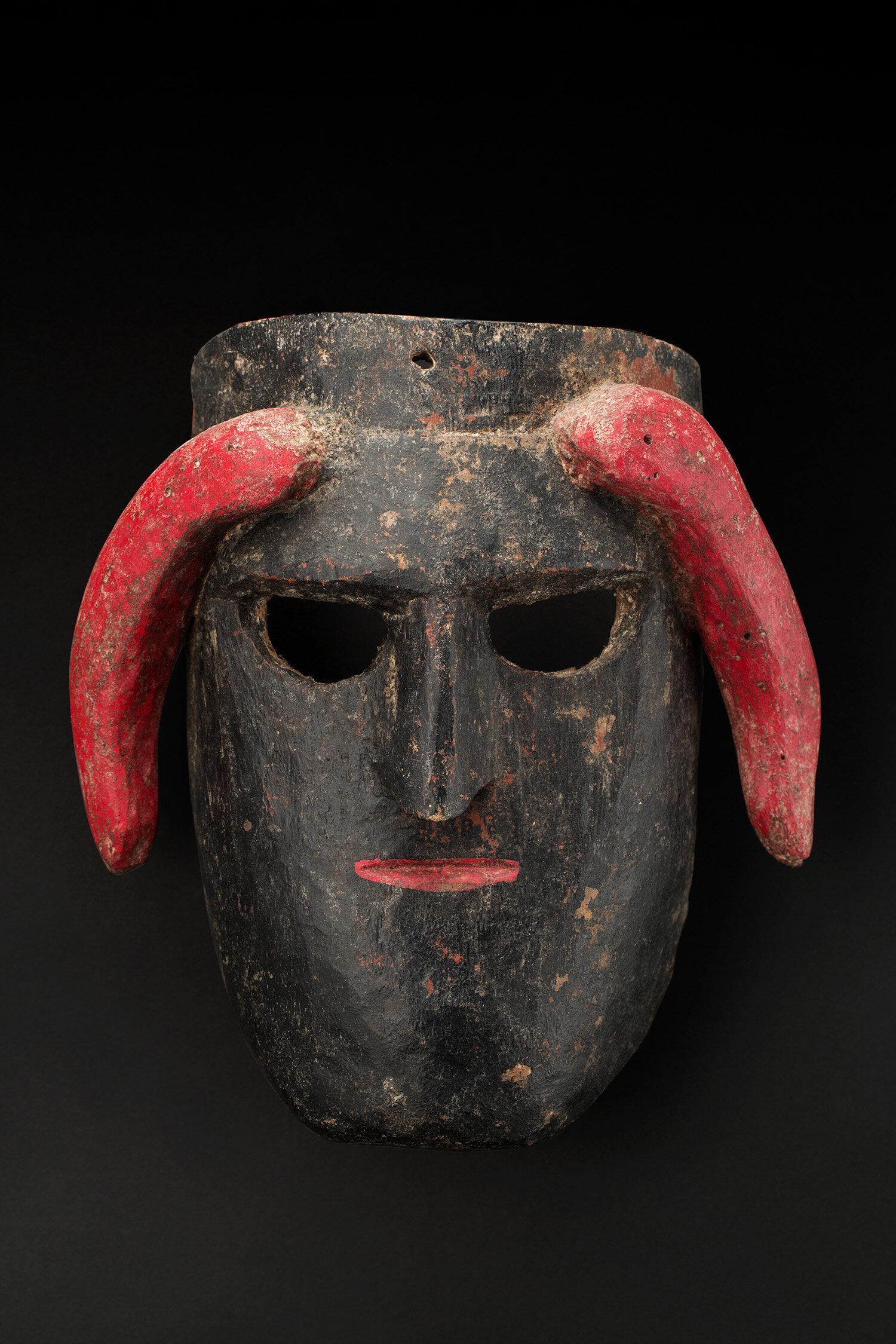 Masks  Guerrero Diablo character, Diablito Dance  , mid 20th C. Polychrome wood 9.5 x 8.75 x 4.5 inches 24.1 x 22.2 x 11.4 cm M 361