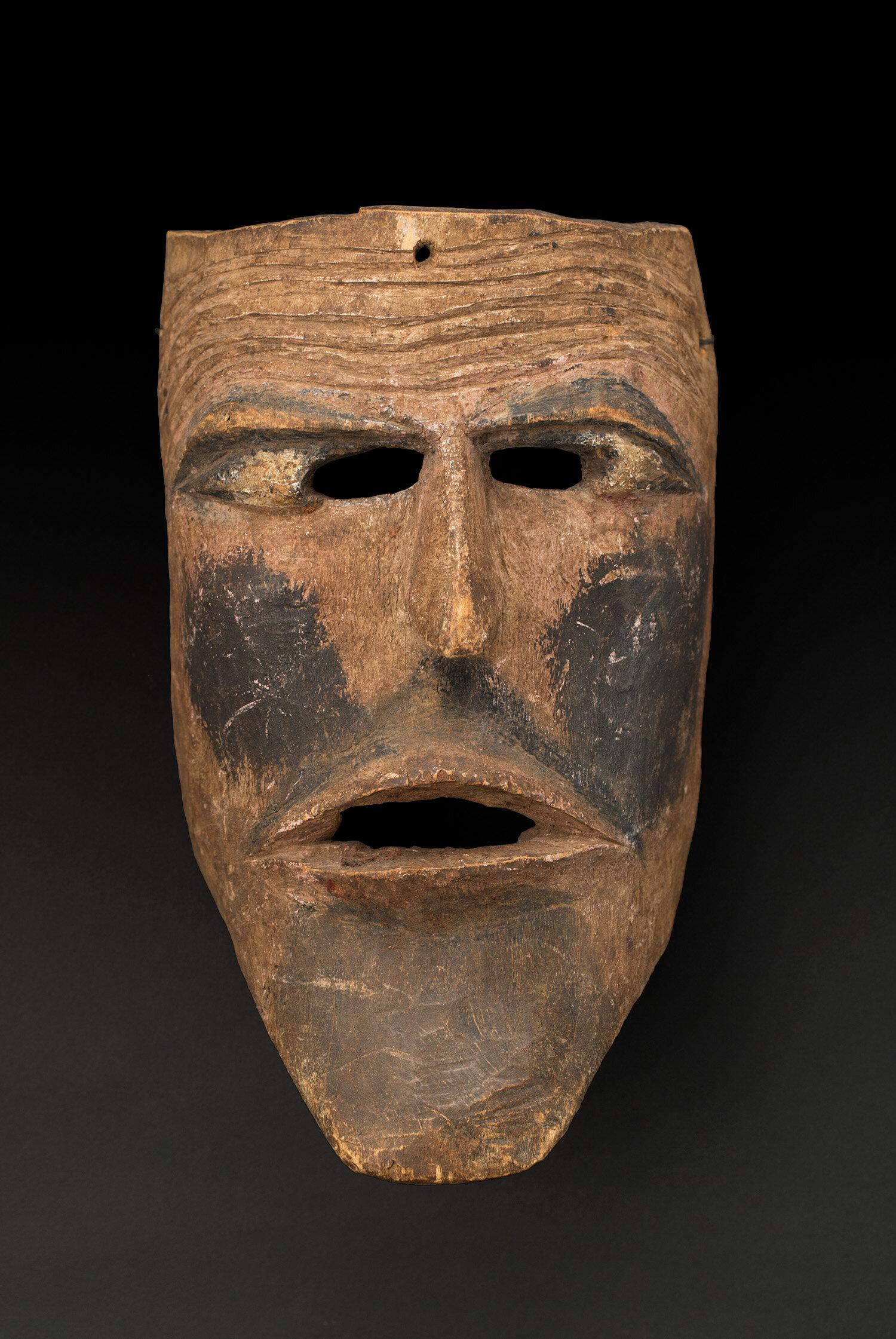 Masks  Puebla Pilato character?  , pre 1960 Polychrome wood 9.5 x 5.5 x 4.5 inches 24.1 x 14 x 11.4 cm M 369