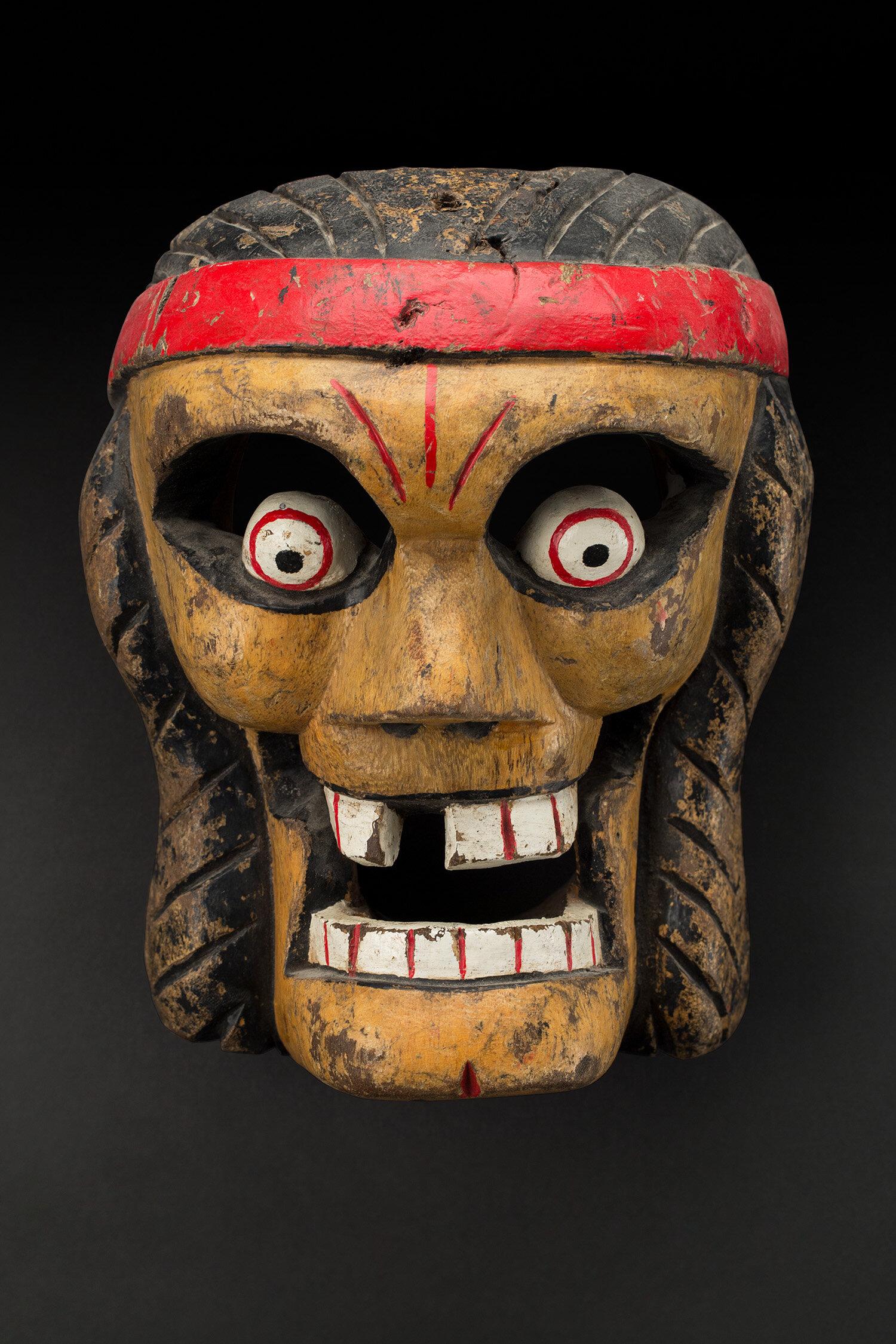 Masks  Veracruz, Naolinco Calavera mask Maskmaker: Lino Mora Rivera   , 1970s Polychrome wood 8.5 x 7 x 5 inches 21.6 x 17.8 x 12.7 cm M 383