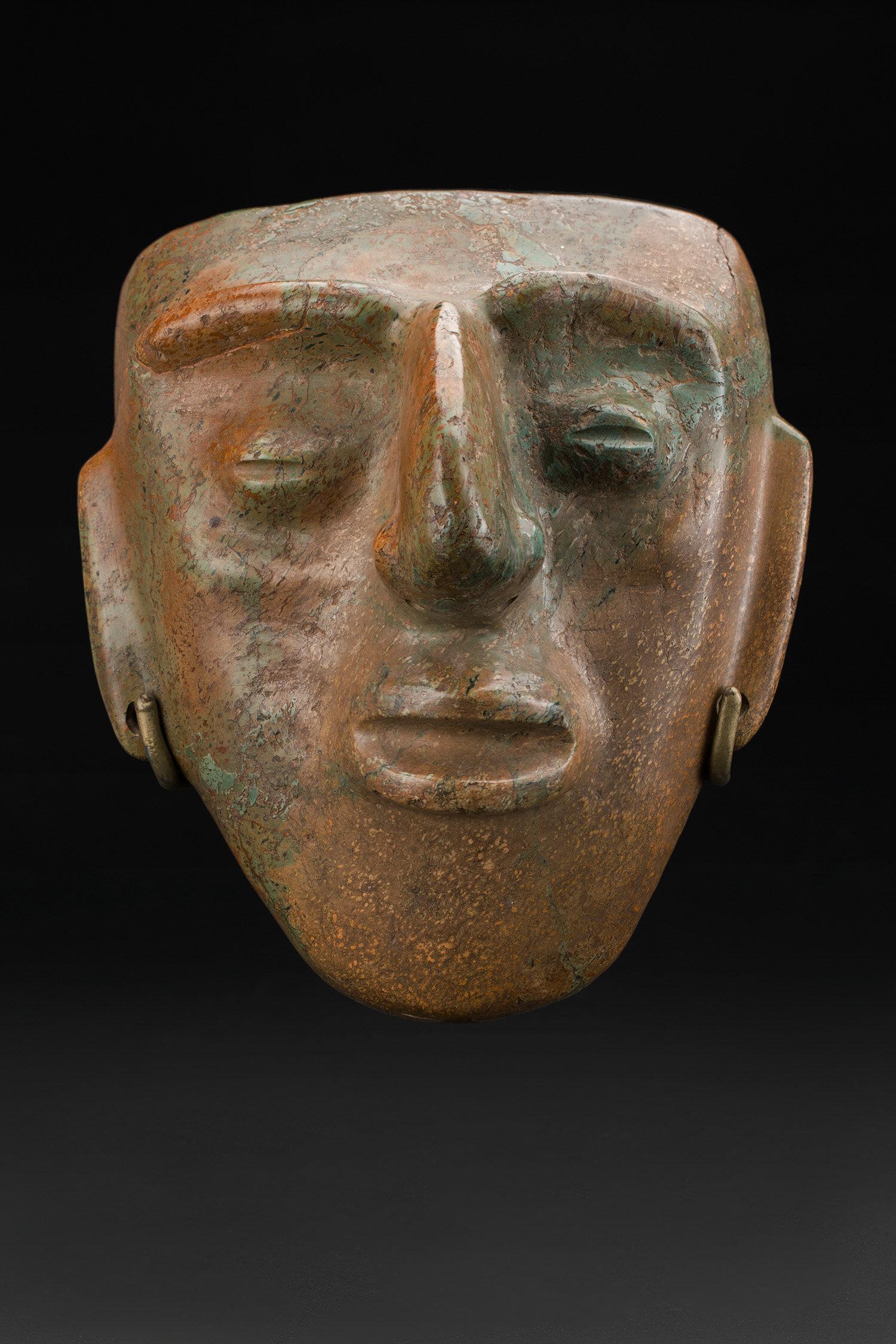Masks  Chontal  , 200 BC - 200 AD Green stone 8 x 6.75 x 5 inches 20.3 x 17.1 x 12.7 cm M 402