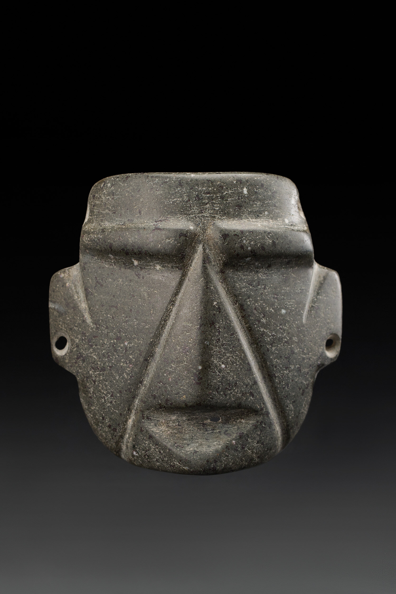 Masks  Mezcala  , 700-300 BCE Andesite 3.25 x 3.25 x 1.375 inches 8.3 x 8.3 x 3.5 cm M 406