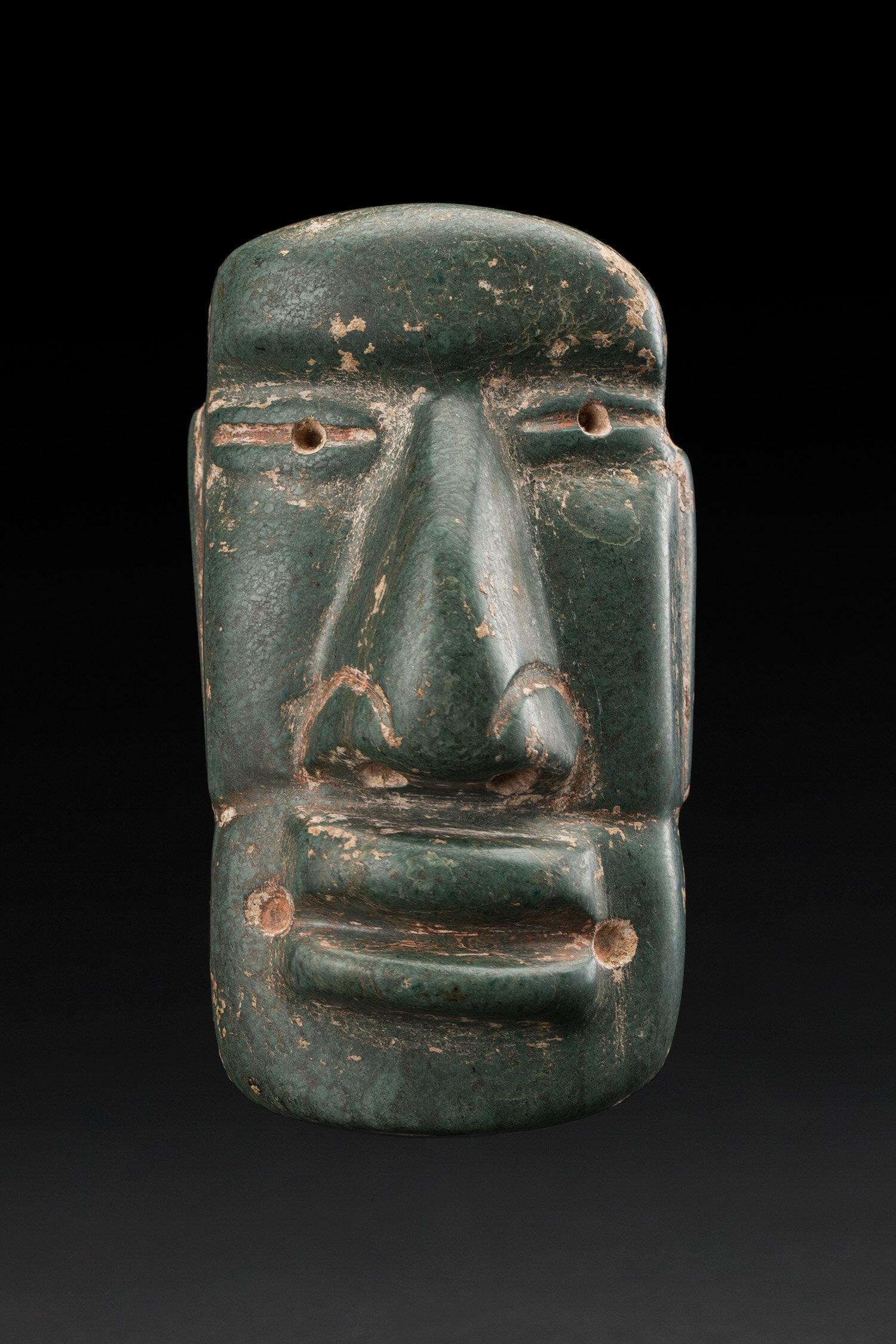 Masks  Proto-Maya  , ca. 300 BCE Serpentine 4 x 2.25 x 1.25 inches 10.2 x 5.7 x 3.2 cm M 410