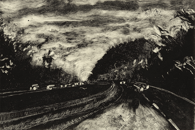 """Roads 03 -  Easthampton 91S 2013  10""""x15"""" Monotype   In the   Prints & Photographs  Collection at The Boston Athenæum"""