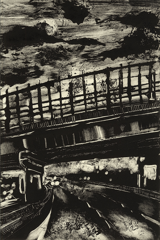 """Roads 04 - Springfield  91N  2013  10""""x15"""" Monotype   In the   Prints & Photographs  Collection at The Boston Athenæum"""