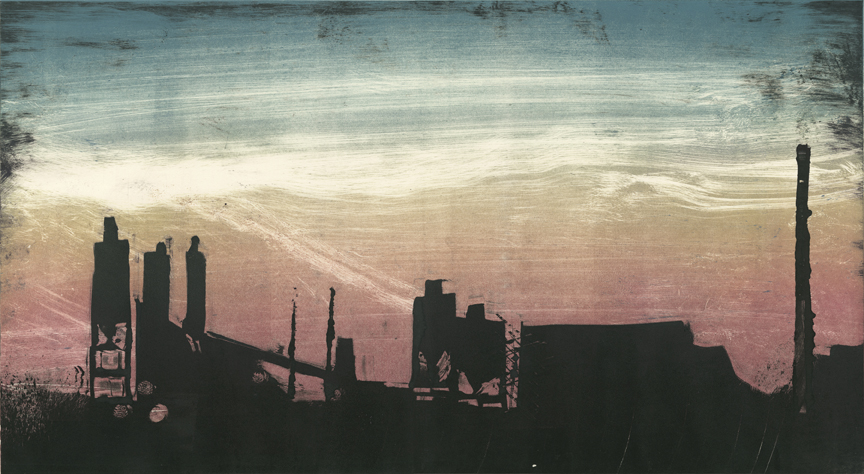 "Factories - Baltimore 95N  2014 12""x22"" Three Stage Monotype"