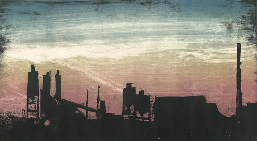 "Factories - Baltimore 95N 2014 12""x22"" Three Stage Monotype"