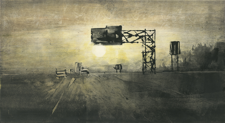 """Morning Commute 2014  12""""x22"""" Two stage Monotype"""